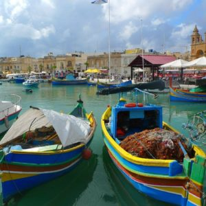 Shore excursion on Malta: Picturesque harbour with the traditional Luzzus