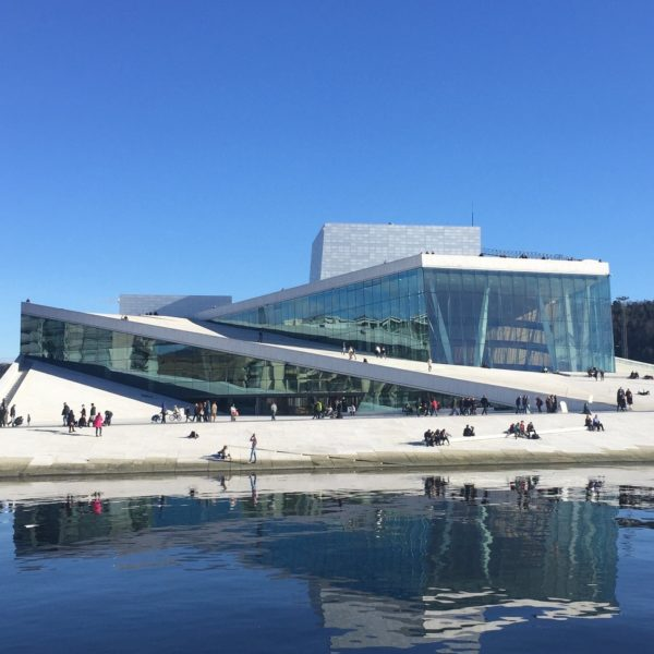 The modern opera house at the Oslo Fjord