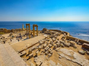 Shore excursions in Rhodes: View from the Acropolis of Líndos