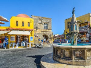 Shore excursions on Rhodes: meeting place and junction: one of the innumerable small places on Rhodes