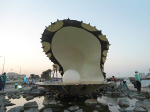 "Shore Excursions in Doha: ""The Pearl Monument"" at the northern end of the Corniche"