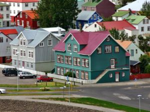Colourful houses at Reykjavik's cityscape