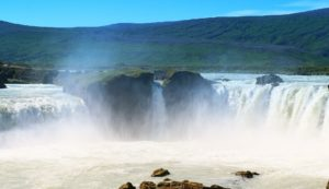 Huge waterfall: the Godafoss in north of Iceland