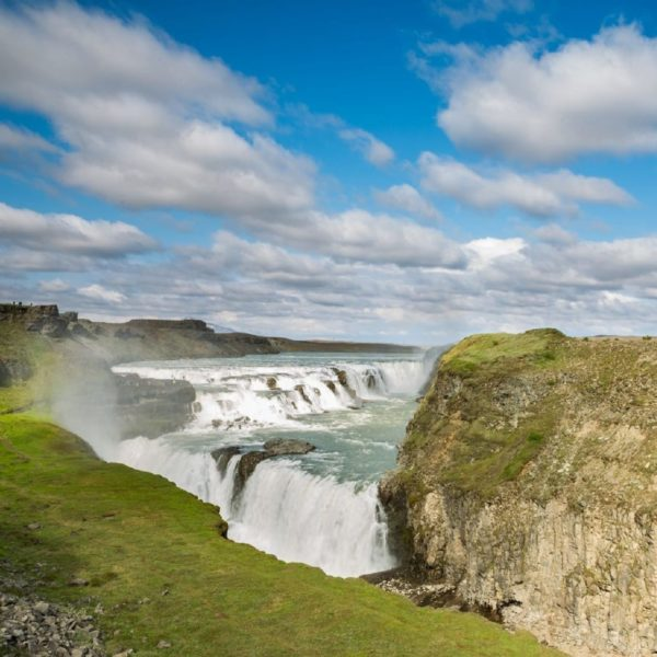 Impressive scenery near the waterfall Gullfoss