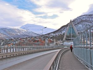 Walk along the bridge of beautiful Arctic Cathedral